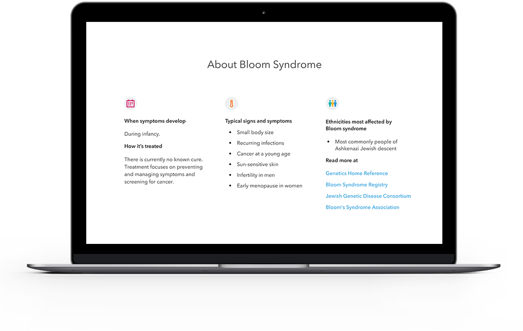 information and resources about Bloom Syndrome