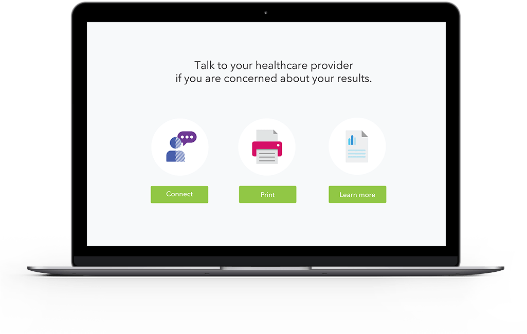 sample action: talk to your health care provider if you are concerned about your results